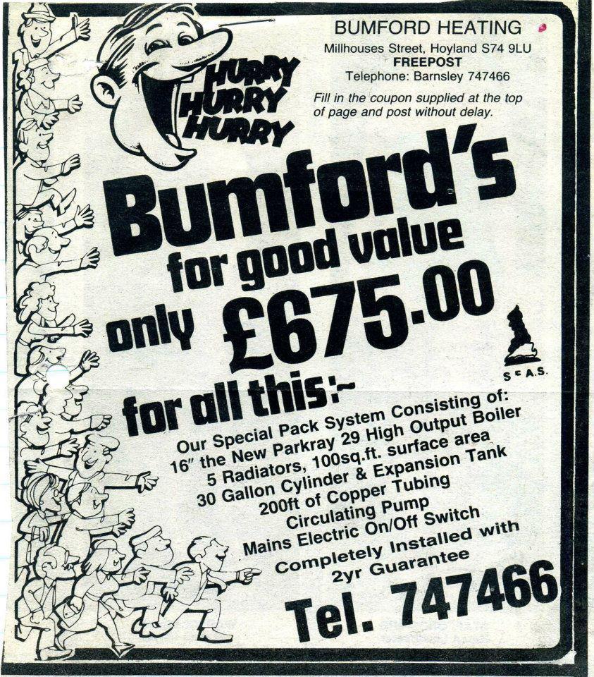 Bumford Heating press advert 1980s